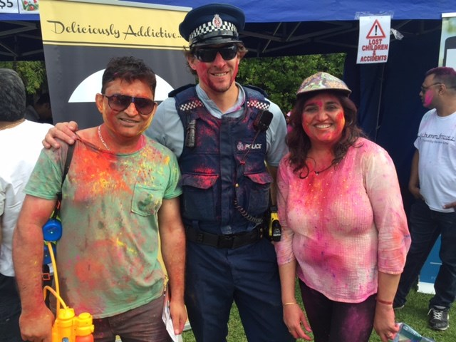 "Crowd ""jumpstarted"" Bollywood-style at Holi event."